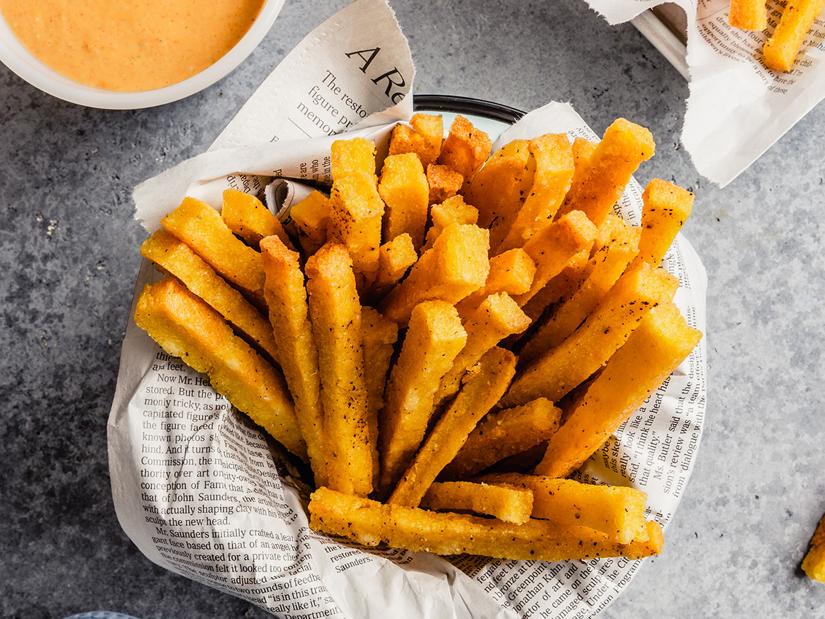 Image of Polenta Fries with Cheesy Chipotle Dipping Sauce