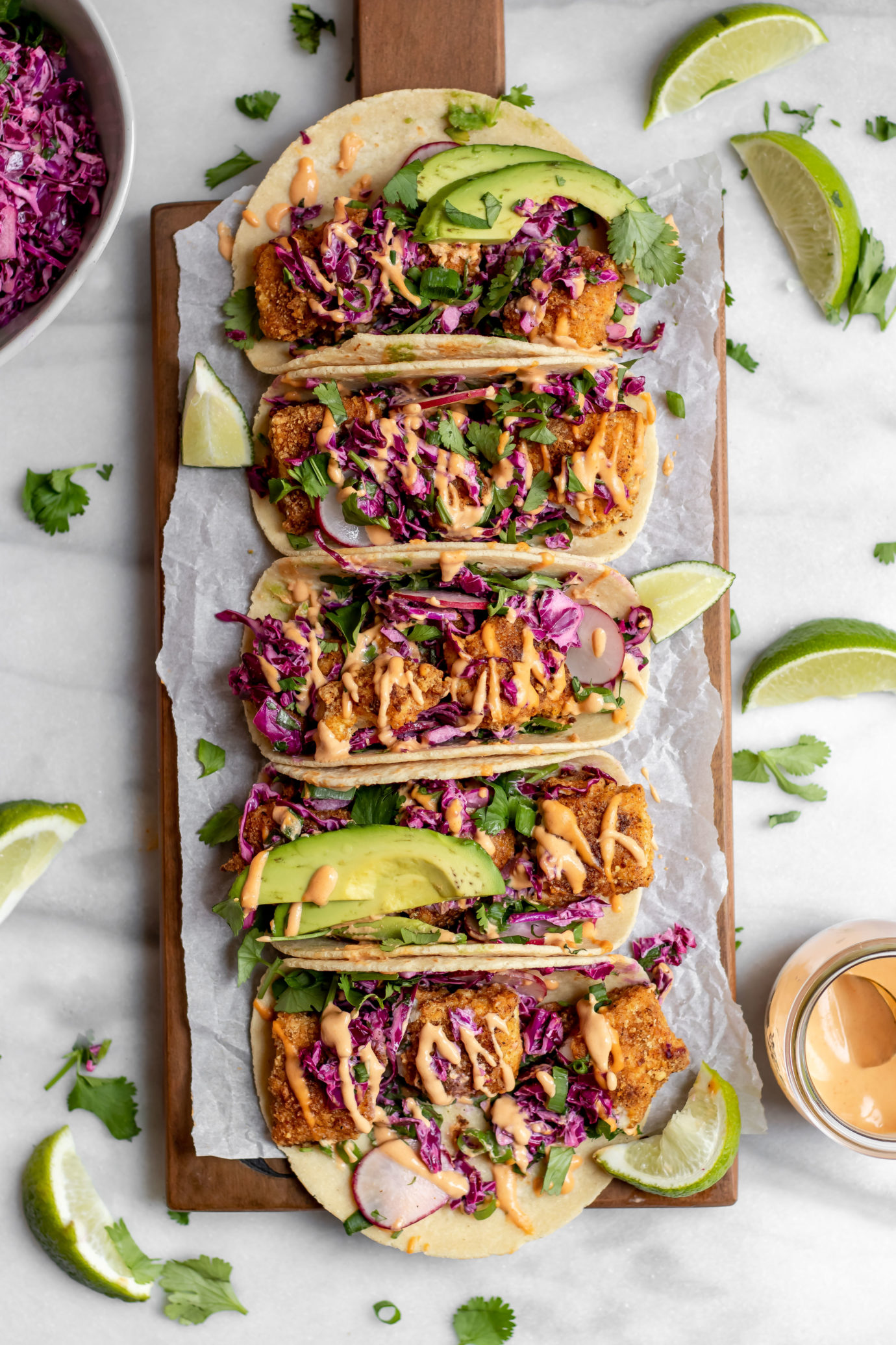 Baked fish tacos with cilantro lime cabbage slaw